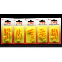 Quality Number Birthday Candles 0-9 Yellow Candle  with Orange color Stripe Painting wholesale