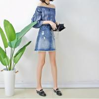 Quality Spring Women Dark Blue Denim Blouses And Tops Off Shoulder Bat Wing Long Sleeve wholesale