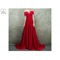 Quality Short Sleeve Long Tail Gown / Red Satin Evening Gown Bust Back Beaded For Women wholesale