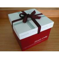 Red Cake Paper Box Packaging With Silk Ribbon , Custom Designed Boxes