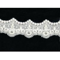 Quality Fringe Crochet Lace Trim For Sewing / Scalloped Embroidery Guipure Lace Fabric wholesale