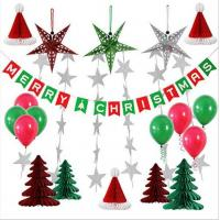 China Paper Honeycomb Party Decorations Merry Christmas tree hat star balloon Bunting Banner Flag on sale