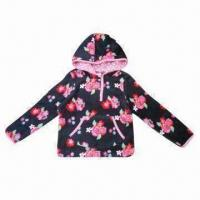 Quality Children's coral fleece jacket with hood, all over graphics printing, customized designs accepted wholesale