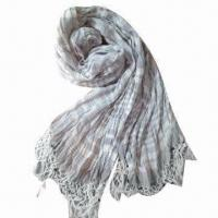 China Ladies Cotton Scarf with Colorful Beads and Stripes, Made of 100% Fine Cotton on sale