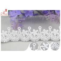 Quality 3CM African Mesh Embroidered Bridal Lace / Nylon Or Polyester Wedding Lace Trim wholesale