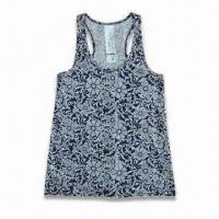 Quality Ladies Lounge Tank Top, Customized Sizes are Accepted, Made of 100% Cotton Jersey wholesale