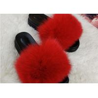 Quality Summer Lady Sandals Womens Fox Slippers , Super Soft Fuzzy Slide Slippers  wholesale