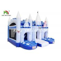 China Frozen Castle Blow Up Bouncer Combo Slide Castle Blue / White PVC Tarpaulin Castle on sale