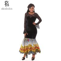 Quality Summer Lace Batik Cloth Stitching Long Sleeves Modern African Dresses Novelty wholesale