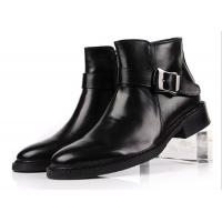 Quality British Style Top Cow Leather Black Buckle Ankle Boots Personalized Mens Zipper Boots wholesale