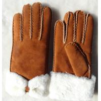 Fashion Double Face Shearing Sheepskin Leather Winter Gloves with Bowknot for Lady