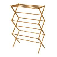 China Portable Wooden Laundry Drying Rack , Bamboo Clothes Rack Earth Friendly on sale