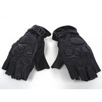Quality Black Half Finger Gloves,Made By Soft Leather And Elastic Fiber wholesale