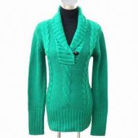 Quality Ladies' shawl neck long sleeve button pullover with fashion design wholesale