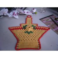 Quality Overlocking Crochet Christmas Tree Ornaments Flowers Shape Yellow Basket With Red Border wholesale
