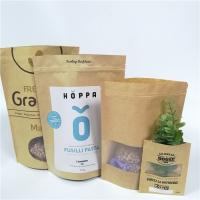 China Brown Custom Paper Bags Clear Front Windows Eco Friendly For Packing Dried Snack Food on sale