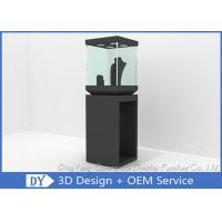 Quality Modern Black Wooden Glass Jewelry Tower Display Cases For Window Display wholesale