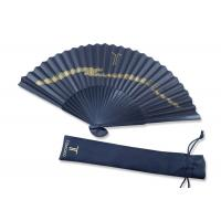 Quality Folding gold printing Black Handmade Paper Fan Gift Fansionable Design With Fabric Bag wholesale