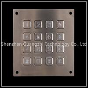 China Metal Backlit Numeric Keypad , SS 4x4 Matrix Keyboard For Vending Machine on sale