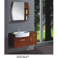 Quality Light brown flush solid oak bathroom wall cabinet , single sink bathroom vanity cabinets wholesale