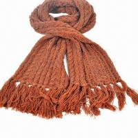 China Men's and women's newest fashionable beaded knitted scarf, made of 85% silk and 15% cashmere on sale