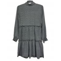 China Long Sleeve Grey Color Large Size Ladies Dresses Crew Collar Pleated Knitting Fabric on sale