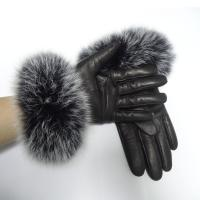 Quality Sheepskin Womens Soft Leather Gloves Wool Lined Fox Fur Leather Gloves wholesale