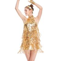 Quality 4 Colors Stunning Tap Costume Sequined-Fringes Mock Neck Dance Dress Performance Wear wholesale