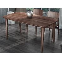 Cheap Nordic style Living room Furniture Walnut Wooden Circular Dining table in Special design Legs and Stainless steel plate for sale
