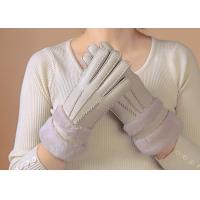 Quality Waterproof Womens Shearling Lined Gloves , Ladies Grey Sheepskin Gloves  wholesale