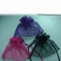 China Colored Mesh Drawstring Pouches for Promotion, Packaging and Gifts on sale