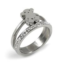 Quality Silver Stainless Steel Bear Cute Ring Jewelry For Woman / Ladies wholesale