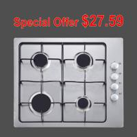 Quality White 4 Burner Gas Hob Stainless Steel With Pulse Igniton Enamel Pan Support wholesale