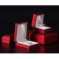 China Logo Foiled Plastic Jewellery Box , Wedding Ring Box With Light Long Plush Insert on sale