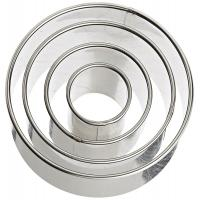 Quality Plain Edge Round Cutters in Graduated Sizes, Stainless Steel, 4 Pc Set wholesale