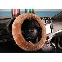 Quality Brown Super Fuzzy Steering Wheel Cover , Real Soft Fur Car Accessories Wheel Covers  wholesale