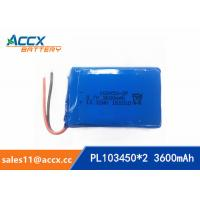 Quality 103450 3600mAh 3.7v lithium polymer battery pack with PCM protection 1S2P wholesale