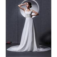 Quality Elegant around the neck Chiffon Wedding Dresses with open back / cathedral train wholesale