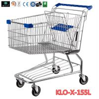Quality 155L Hyper Market / Grocery Shopping Trolley With Transparent Powder Coating wholesale