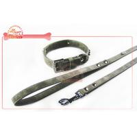 Quality PU Dog Collar And Leash Designed With Sparkling Rhinestone Charms And Bling Buckle wholesale