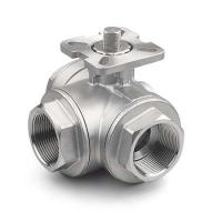 1/4  - 4 3-Way Ball Stainless Steel Valves With High Mounting Pad ISO 5211