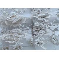 China Oblong Beaded Embellished Lace Fabric / White Lace Material For Curtain on sale