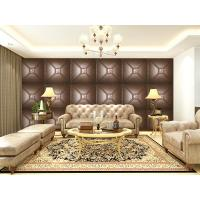 Quality Luxury Modern 3D Leather Wall Cladding TV Background Wallpaper Royal Office Wall Panels wholesale