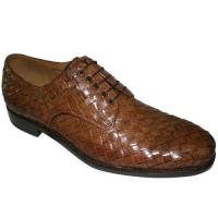 Quality lace-up leather woven brandy calf men