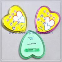 Heart Shape Plastic Badge Holder with Safety Pin for sale