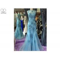 Quality Blue Mermaid Style Prom Dress , High Collar Evening Gown Open Back Tulle Bottom wholesale