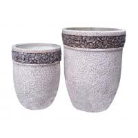 Quality Contemporary Round Cement Garden Planters Cement Flower Pots For Courtyard / House wholesale