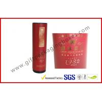 Embossed / Hot-Stamping Cylindrical Wine Packaging Boxes , Custom Printed Wine Boxes with Matel Cap