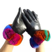 China Manufacturer customized rabbit fur lined leather gloves on sale