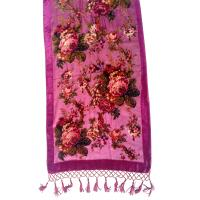China Oblong flower pattern burnout velvet scarf with beading and tassels on sale